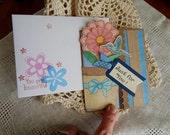 Handmade Birthday Card: complete card, handmade, balsampondsdesign, flowers, ooak, humming bird, blue, brown, friend