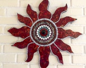 Stained Glass Mosaic Art, Glass Mosaic Sun, Red Glass Wall Art, Mosaic Sunburst Art, Sun Home Decor, Mosaic Wall Hanging Art