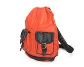 KNAPSACK orange leather 60s 70s BACKPACK rucksack
