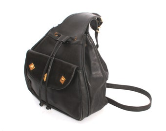 TRIANGLE black leather 80s 90s GOLD studs knapsack grunge HOBO purse