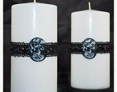 ON SALE Gothic Style Pillar Candle - White - La Muerte - Gothic Home Decor - Gifts under 20