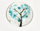 4 Flat round  glass cabochon, Tree of life cabochon 25mm