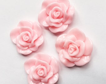 6 pcs of acrylic Lucite flower Cabochon 30x28mm Light Pink