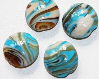 10 pcs of blue stripe line lampwork flat round beads 25mm, blue brown lampwork