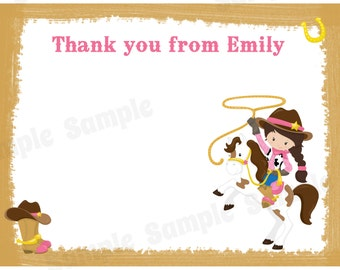 20 Personalized Thank You Cards  -  Cowgirl Birthday - Western Birthday - CowgirlThank You Cards - Wild West Party