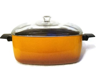 Vintage 70s Dutch Oven Casserole Pan Orange and Brown Ombre