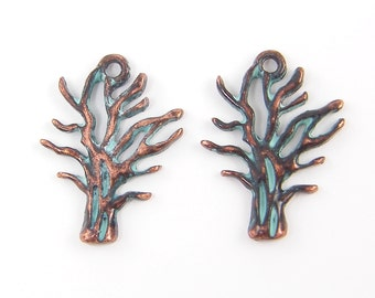 Tree Earring Findings Verdigris Patina Green Copper Tree with Leaves Pendant Charm |GR1-16|2