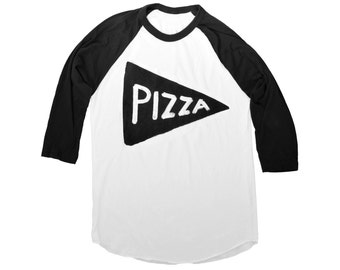 Team Pizza Baseball Jersey, back to school shirt, funny graphic tee, gift for dad, father gift black white Unisex American Apparel dad gift
