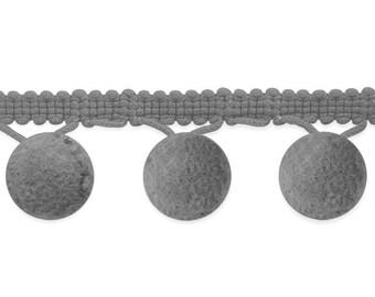 """Grey Pom Pom Fringe Trim 1.5"""" (20 yards) Wholesale Bulk Light Gray Pom Pom Trim (IR7099LGY)"""
