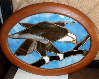 Vintage Stained Glass Wall Hanging,Eagle
