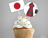 INSTANT DOWNLOAD - Japan - LDS Missionary Farewell Welcome Home Decorations - Cupcake Toppers with Flag - Elder