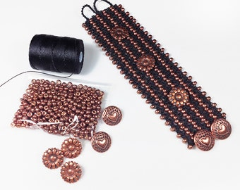 Copper Princess Warrior Crochet Cuff Bracelet DIY Kit - Miyuki Duracoat Galvanized Beads & C-Lon Bead Cord Kit - Turkish Flat Bead Crochet