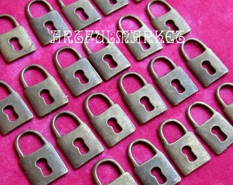Small Lock Charm, Antique Brass Charm, Bronze Charm, 24-50 pcs. Charm Pendant, DIY Charm, Tiny Lock Pendant,Jewelry Finding,Jewelry Supplies