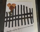 Snapdragons by an iron gate- Pressed flower card - handmade