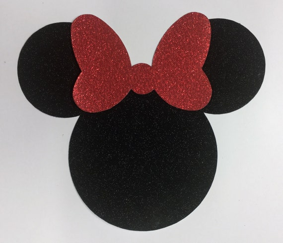 Disney Minnie Mouse Jumbo 7 Inch Black Glitter Red Glitter Bow Die Cut Sticker Shapes - 10 pcs - Vacation Scrap Decor Craft Art Kids 00411