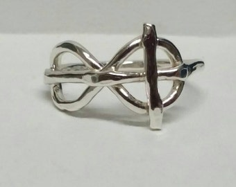 Infinity Cross Ring, Sideways Cross Ring, Fine Silver Pinky Ring, Size 4, Confirmation Ring, Infinity Cross Ring, by Maggie McMane Designs
