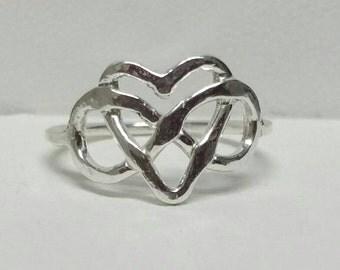 Rustic Infinity Heart Ring, Eternity Jewelry, Lovers Heart Ring, Fine Silver, Size 5, Celtic Heart Ring, Handmade by Maggie McMane Designs