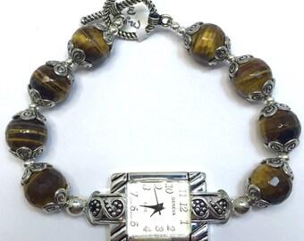 Gorgeous Genuine Tigers Eye Gemstone Bracelet Watch - Stainless Steel - Ladies Beaded Watch