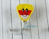 Candy Corn Badge Holder with Retractable Badge Reel, Halloween badge reel, retractable badge holder, badge clip, badge pull