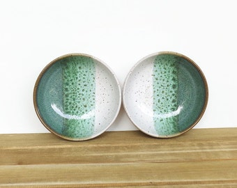Pottery Prep Bowls Stoneware Ceramic in Sea Mist and White Glaze - Set of 2