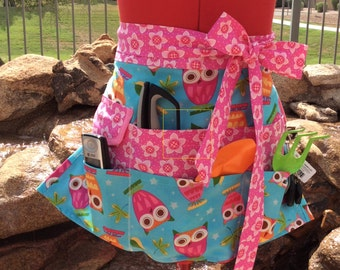 Aprons, Half Vendor Apron with 6 Pockets, Womens, Utility, Gardening, Sewing, Teacher Gifts, On A Whim Owls