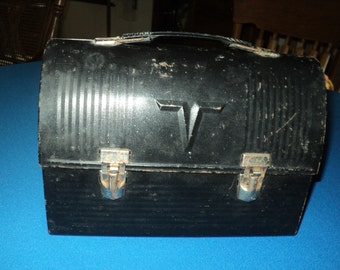 Vintage Black Metal Lunch Pail--Dome Lid and No Thermos