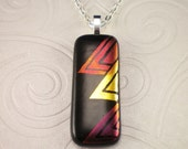 Red Gold Abstract Triangle Design Dichroic Hand Etched Fused Glass Pendant