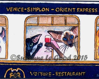 SIAMESE & ORIENTAL CAT aceo Limited Edition mounted print by Suzanne Le Good