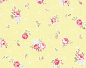 SALE Yellow Small Scattered Roses 31267 50 by Lecien Fabrics Princess Rose Clearance