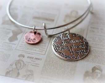 Be Kind, Be at Peace, Be Free, Be True, Be Compassionate, Be Strong Be Happy, Be thankful, Be Brave, Bangle Bracelet, SHABBYZ,