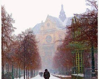 On Sale Fine Art Print, Giclee Archival Print, Photomontage, Collage, Painted Photographs,  Paris, Winter Snowfall,