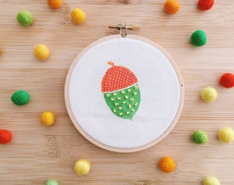 Acorn embroidery . Embroidered hoop . Block printing .  Hoop art