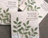 Scripture  Coasters - Ready to Ship - With God All Things Are Possible -  Leafy Branch -  Set of 4 Travertine Tile Coasters - Hand Stamped