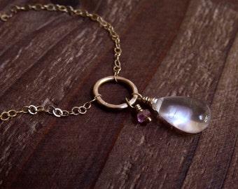 14kt Gold Rose Quartz Teardrop Necklace - Pink Tourmaline Necklace - Romantic Pink Gemstone Necklace - Dreamy Pale Pink Necklace