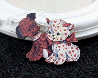 Puppy and  kitten toy wooden brooch cute woodland cat dog red white heart