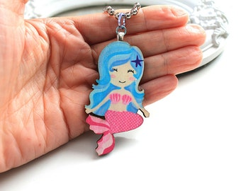 Mermaid necklace wooden pendant kawaii victorian egl lolita pink blue