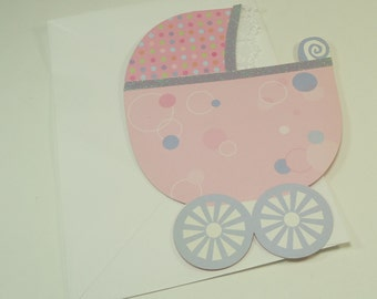 Girl Baby Buggy Shower Birth Announcement Invitation Kit / Note Cards 10 Count By Vivian Claire