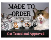 Reserved For R - Special Order 2 Cats On Ceramic Treat Jar With Lid Handmade by Grace M Smith