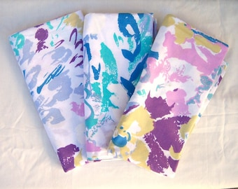 80s KING pillow cases / set of 3 / abstract florals / purple pink aqua blue lavender / beach house style / EXCELLENT