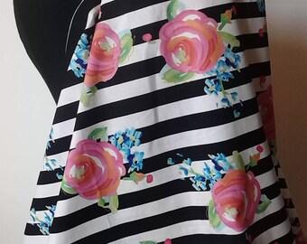Nursing Cover-Breastfeeding Cover- Black Stripes Roses, Floral