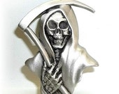 Grim Reaper Halloween Day of the Dead Goth Gothic JJ pin brooch Jonette pewter vintage RARE