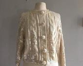Sequin cardigan knit cardigan sparkly sweater medium