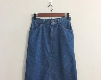 Vintage 1070s Tour De France jean skirt Denim skirt midi skirt