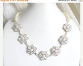 27% Off Sale Bridal Necklace Swarovski Ivory Pearl CZ Sterling Silver Necklace GN1