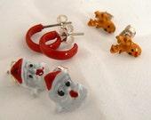 Vintage Christmas Post Earring Set, Red Hoops, Holiday Christmas Reindeer Post Earrings, 3 Pair Xmas Post Earrings, Santa Earrings (E224)