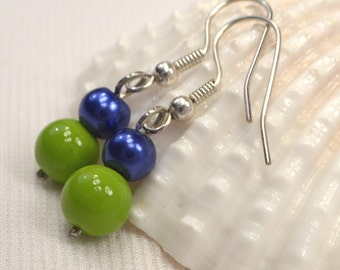 12th Man Green and Blue Earrings, Seattle Seahawks Spirit Earrings, Lime Green & Blue Earring Dangles, Blue Earrings, Green Earrings (E375)