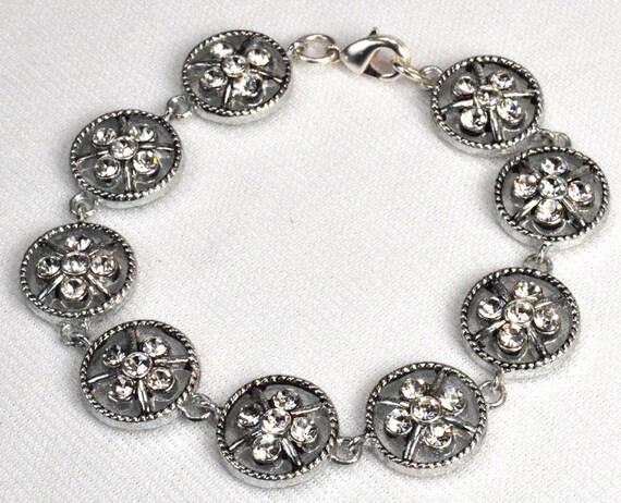 Silver Clover Flower Bracelet, Lucky Clover Circle Link Bracelet, Crystal Rhinestone Flower Bracelet, Versatile Everyday Bracelet (2194)
