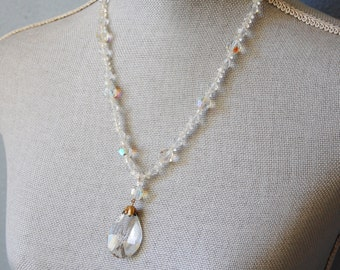 Vintage 1950s Cut Crystal Necklace Faceted Beads and Pendant Aurora Borealis