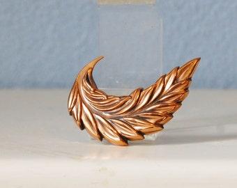 Vintage 1950s Copper Brooch Mid Century Leaf Pin