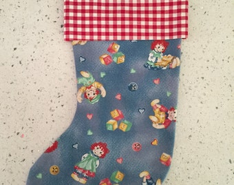 Christmas X'mas Stocking - Raggedy Ann and Andy With Check